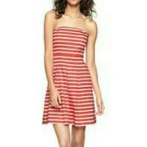 GAP Coral & White Striped Strapless Dress Size 2